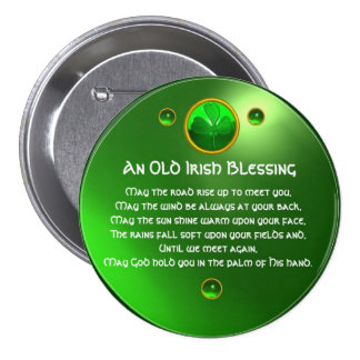 An Old Irish Blessing Shamrock Pinback Button