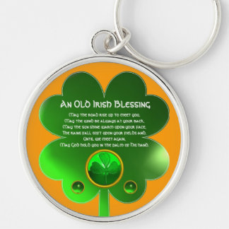An Old Irish Blessing Shamrock Silver-Colored Round Keychain