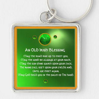 An Old Irish Blessing Shamrock Silver-Colored Square Keychain