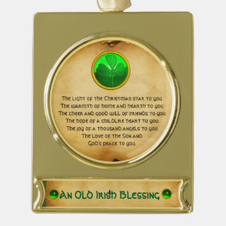 An Old Irish Christmas Blessing Parchment Gold Plated Banner Ornament