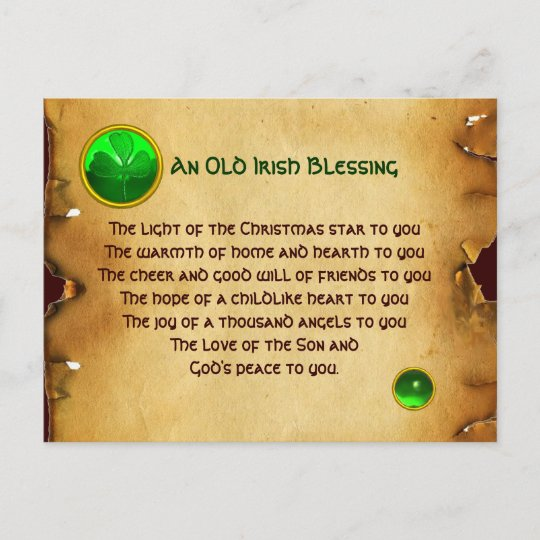 Irish Christmas Blessing.An Old Irish Christmas Blessing Parchment Holiday Postcard