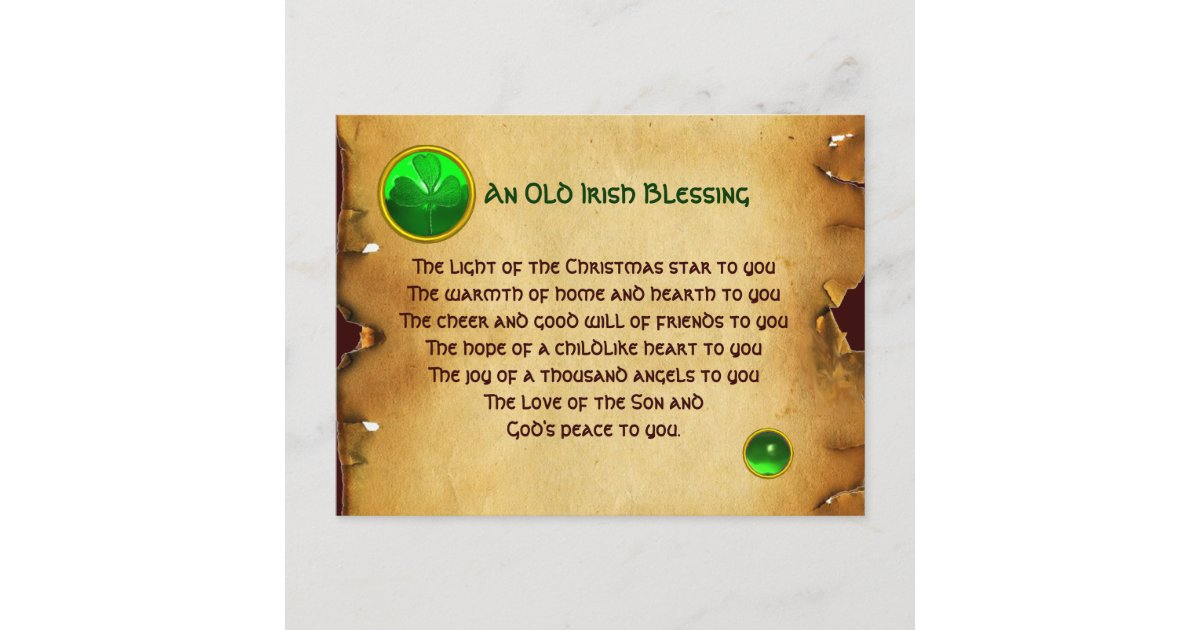 An Old Irish Christmas Blessing Parchment Holiday Postcard | Zazzle.com
