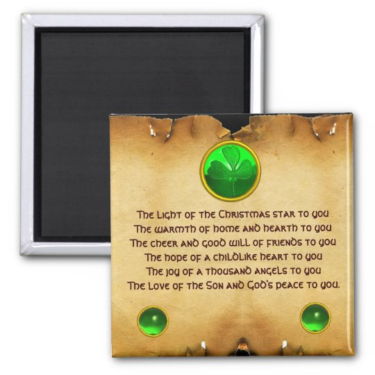 An Old Irish Christmas Blessing Parchment Magnet
