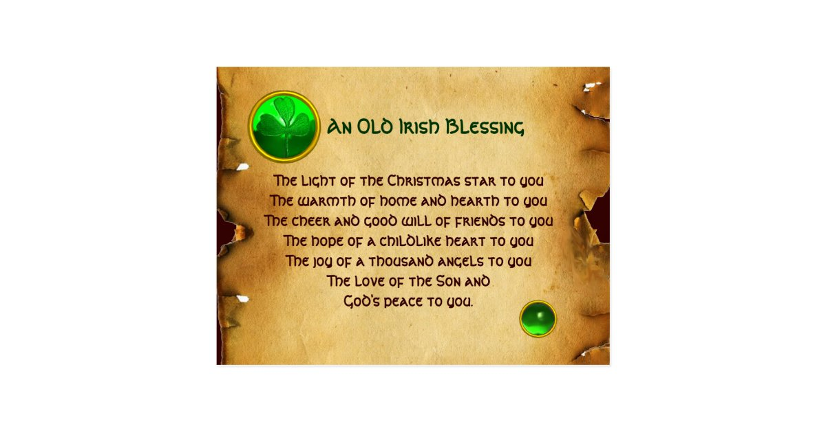 An Old Irish Christmas Blessing Parchment Postcard | Zazzle