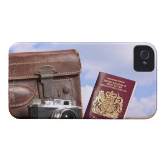 An old leather suitcase, retro camera and iPhone 4 Case-Mate case