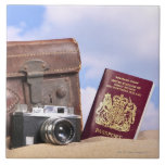 An old leather suitcase, retro camera and large square tile
