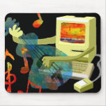 An old Macintosh plays psychedelic guitar. Mouse Pad