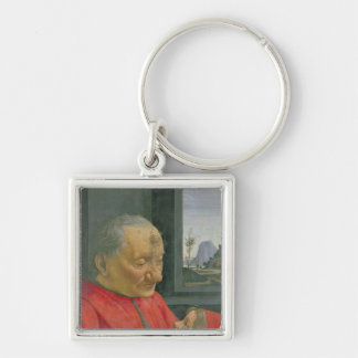 An Old Man and a Boy, 1480s Silver-Colored Square Keychain