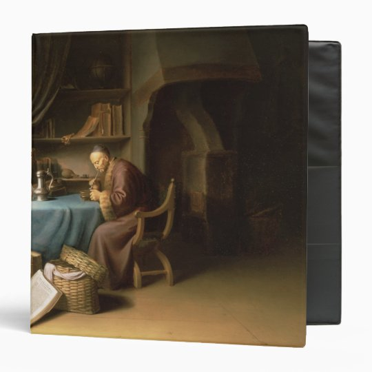 An Old Man Lighting his Pipe in a Study Binder