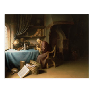 An Old Man Lighting his Pipe in a Study Postcard