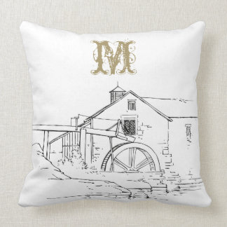 An Old Mill House & A Monogram Throw Pillow