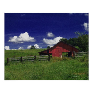 An Old Red Barn on a Hot Summer Day Poster