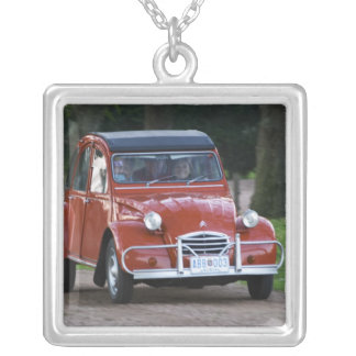 An old red Citroen 2CV car with a smiling woman Square Pendant Necklace