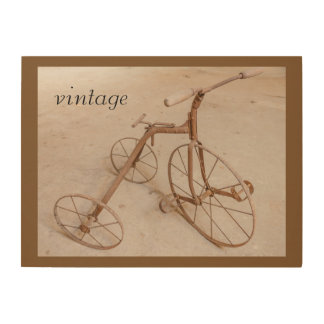 AN OLD TRICYCLE 1928 WOOD WALL ART