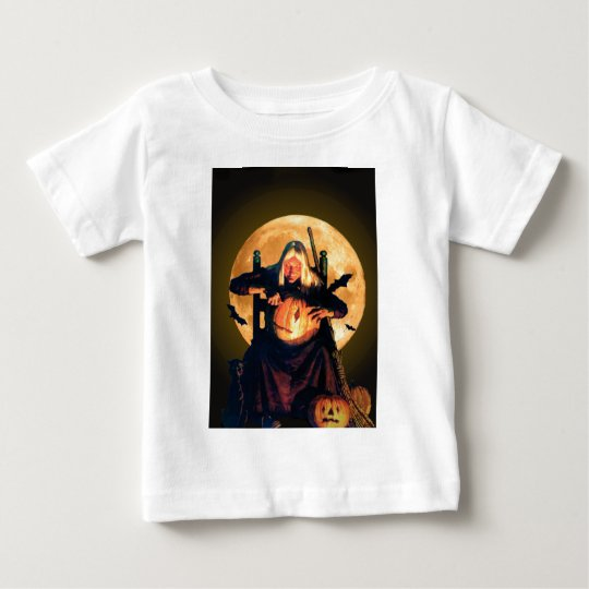 An Old Witch Carves Pumpkins for Halloween Baby T-Shirt