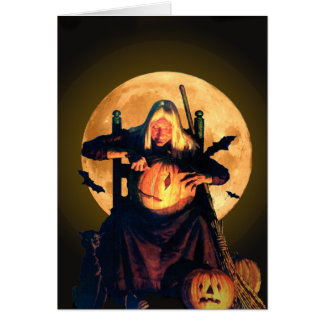 An Old Witch Carves Pumpkins for Halloween Greeting Card