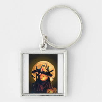 An Old Witch Carves Pumpkins for Halloween Keychain
