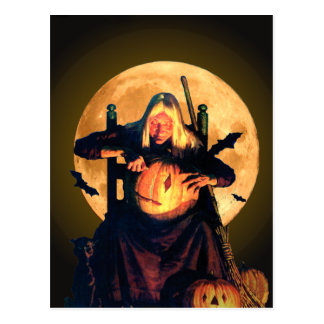 An Old Witch Carves Pumpkins for Halloween Postcard