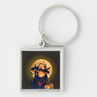 An Old Witch Gets Ready for Halloween Keychain