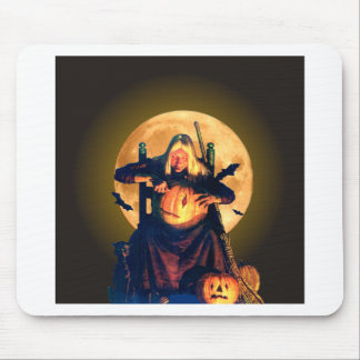 An Old Witch Gets Ready for Halloween Mouse Pad