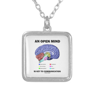 An Open Mind Is Key To Communication (Brain) Silver Plated Necklace