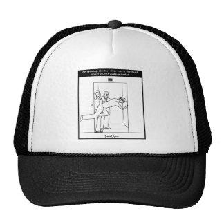 An opening elevator door... trucker hat