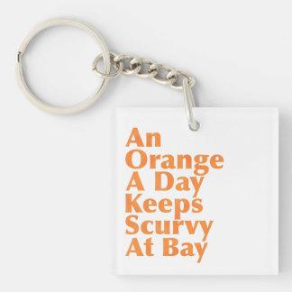 An Orange A Day Keeps Scurvy At Bay AlignedLeft Keychain