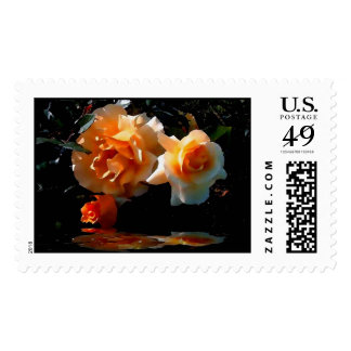 AN ORANGE COLORED ROSE POSTAGE STAMPS