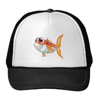An orange fish with big eyes trucker hat