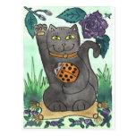 An Orange Ladybug & Purple Roses Postcard