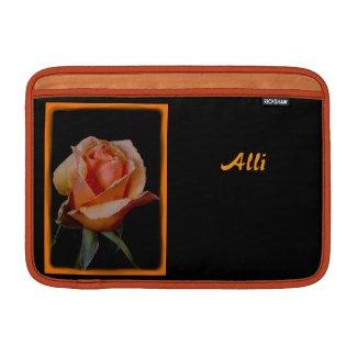 """An Orange Rose on Black 11"""" MacBook Air Sleeves"""