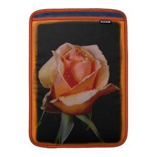 An Orange Rose on Black MacBook Sleeve