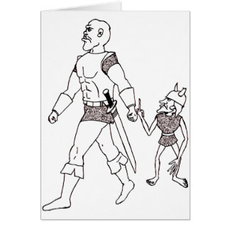 An Orc and Goblin (lined or gold) Greeting Cards