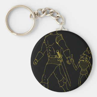 An Orc and Goblin (lined or gold) Keychain