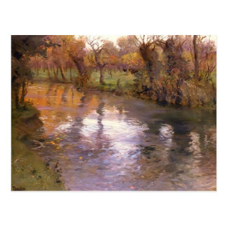 An Orchard on the Banks of River by Frits Thaulow Postcard