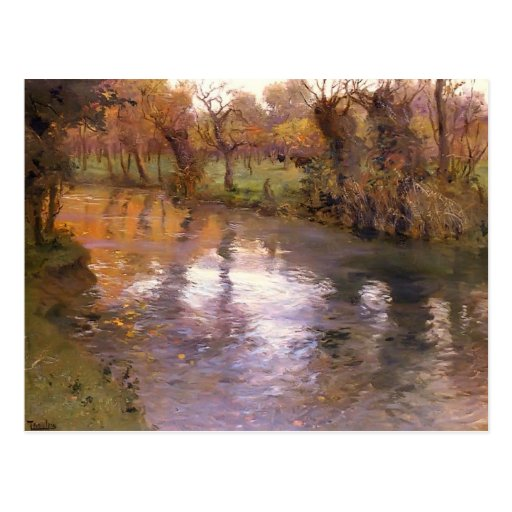 An Orchard on the Banks of River by Frits Thaulow Postcards