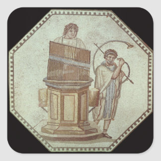 An organist and a horn player entertain square sticker