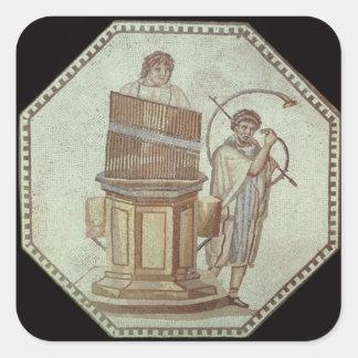 An organist and a horn player entertain sticker