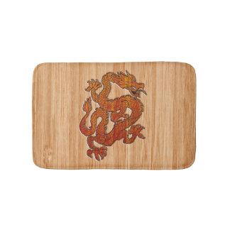 An oriental Dragon in Bamboo Bathroom Mat