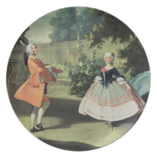 An ornamental garden with a young girl dancing to dinner plate