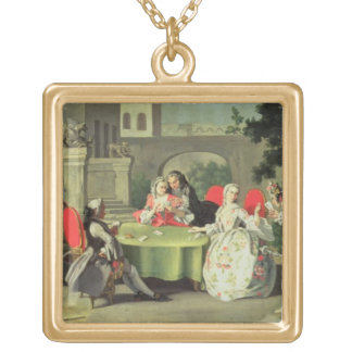 An ornamental garden with elegant figures seated a gold plated necklace