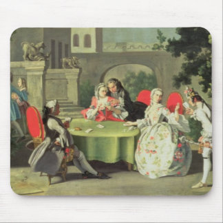 An ornamental garden with elegant figures seated a mouse pad