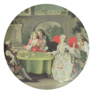 An ornamental garden with elegant figures seated a plate