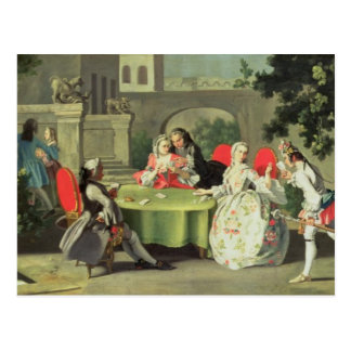 An ornamental garden with elegant figures seated a postcard