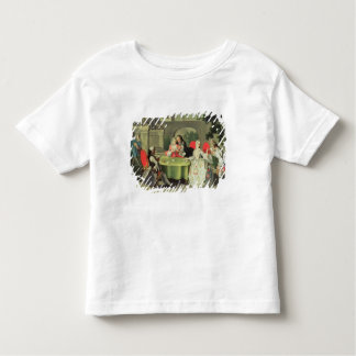 An ornamental garden with elegant figures seated a t shirt