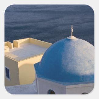An Orthodox Church near the sea, Oia Santorini Square Sticker