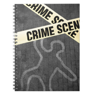 An outline of a person on a street. Murder? Suicid Notebook