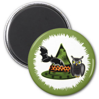 An Owl, A Bat and A Witches Hat 2 Inch Round Magnet