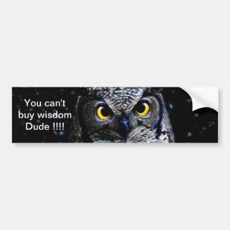 An owl and stars bumper sticker