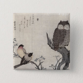 An Owl and two Eastern Bullfinches Pinback Button